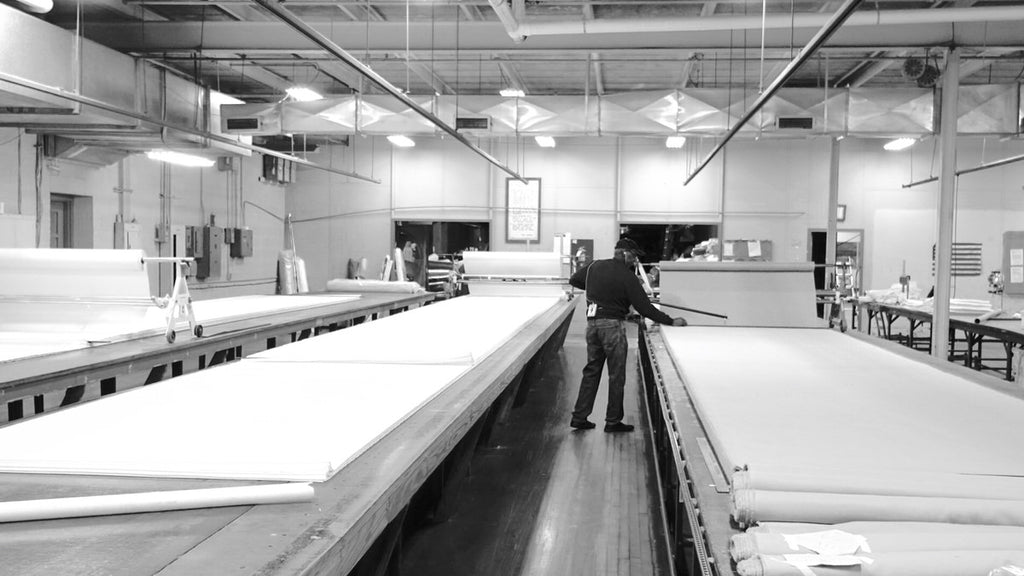 Laying up cotton fabric for Made in America bed sheets