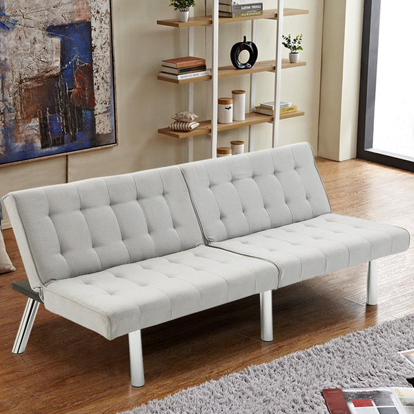 Modern Living Room Furniture Split Back Futon Sofa Bed Convertible Couch  Bed Recliner Sleeper with Chrome Legs