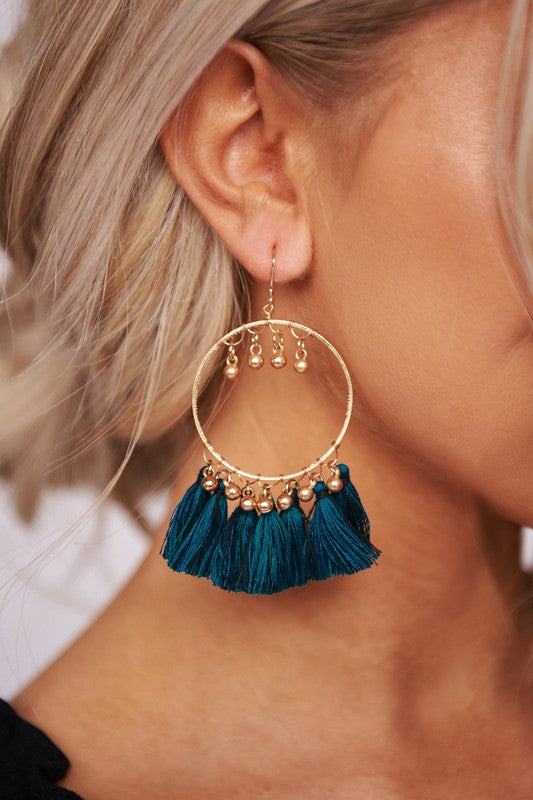 Teal Gold Hoop Earring