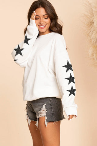 Leopard Star Sleeves Crew
