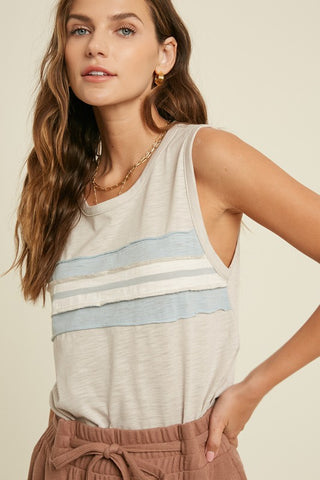 Front Striped Cut Off Tank