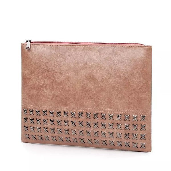 Blush Studded Clutch