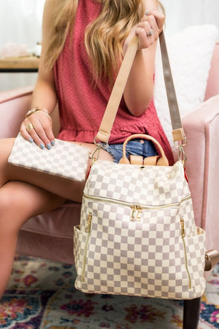 Checkered Cream Backpack