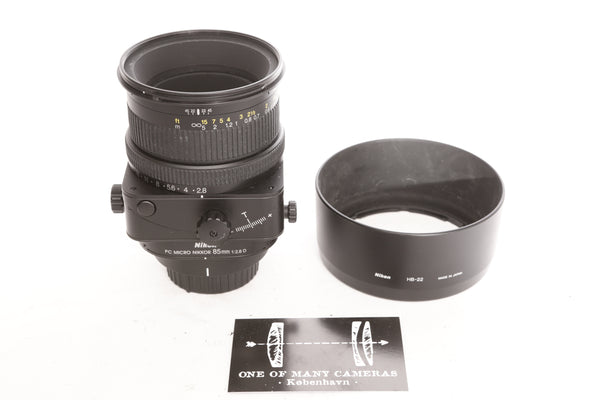 Nikon 85mm f2.8 PC Micro Nikkor D with hood HB-22