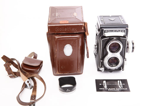 Rolleiflex T with Zeiss 75mm f3.5 and lens hood and leather case
