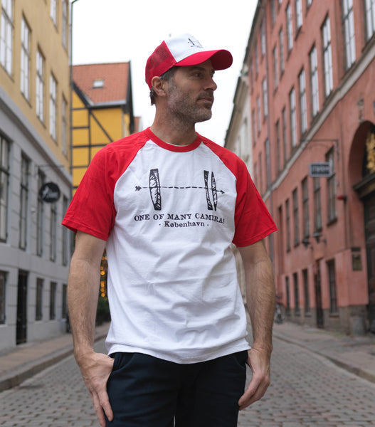#023 Danish Canadian alliance – white shirt with red sleeves and black print