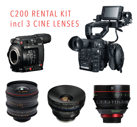Canon EOS C200 Cine Kit with Tokina 16-28mm T3 - Zeiss ZP2 35mm T2 Distagon - Canon CN-E 50mm T1.3