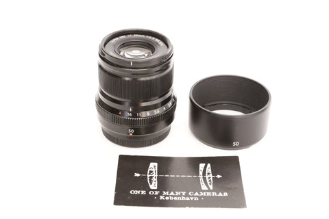 Fuji XF 50mm f2 Super EBC R WR with hood