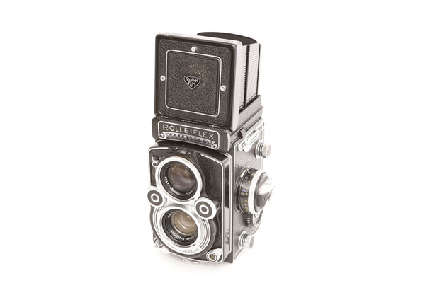 Rolleiflex 3.5F with Zeiss 75mm f3.5 Planar and case and lens hood and Rolleinar 2