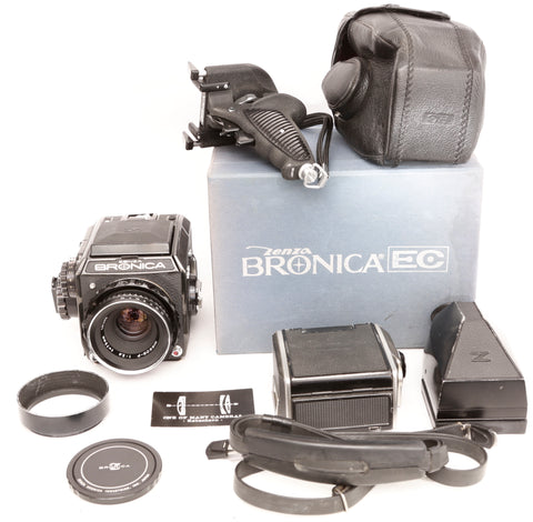 Zenza Bronica EZ with Nikon 75mm f2.8 Nikkor-P plus two film backs, prism and extras