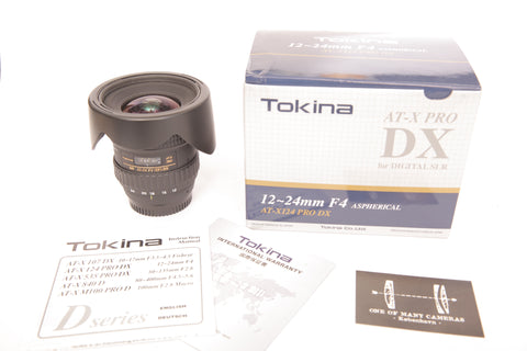 Tokina 12-24mm f4 AT-X PRO SD DX Wide Angle Lens Nikon Mount with hood BH-779