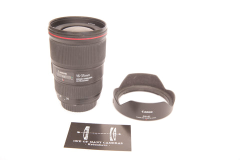 Canon EF 16-35mm f4.0 L IS USM with hood EW-82