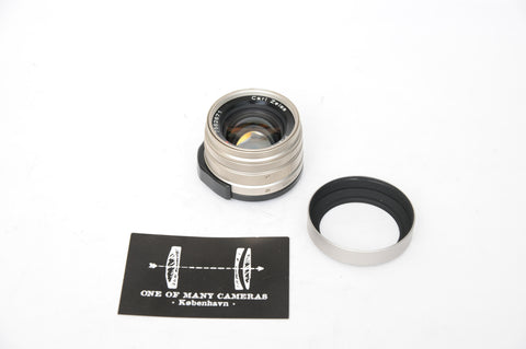 Contax G 45mm f2 Zeiss Planar with hood - silver