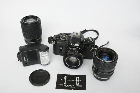 Ricoh XR6 with 50mm Rikenon XR plus Tokina 35-70mm f4 plus Luxon 70-210mm f4-5.6