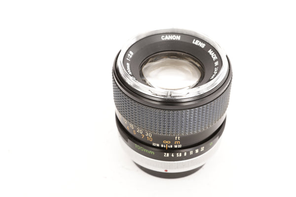 Canon FD 100mm f2.8 S.S.C. with hood BT-55