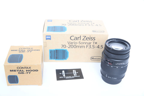 Contax 70-200mm f3.5-4.5 Zeiss Vario-Sonnar for Contax N with box and GB-77 hood