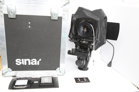 Sinar F3 w. Sinaron Digital 45mm f4.5, Sliding backs for Hasselblad V and Hy6 backs + original trunk