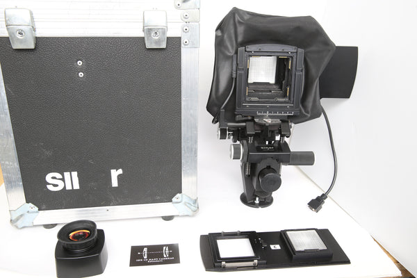 Sinar F3 w. Sliding backs for Hasselblad V and Hy6 backs + original Sinar trunk