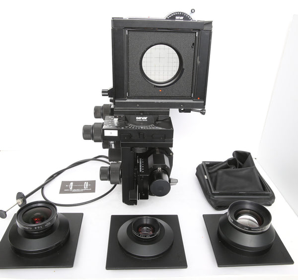 Sinar P2 4x5 kit with Sinaron 90mm, 150mm, 210mm and Copal Shutter, normal and wideangle bellows, shutter and original Sinar Trunk