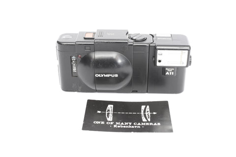 Olympus XA with 35mm f2.8 and A11 flash