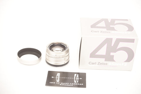 Contax G 45mm f2 Planar - with GG-2 hood and box