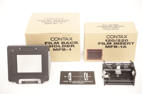 Contax 645 MFB-1 film back with insert MFB1A with boxes