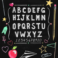 Alphabet School Chalk Board Backdrop