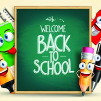 Cartoon School Chalk Board Backdrop