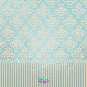 Backdrop - Blue & Cream Vintage Wallpaper