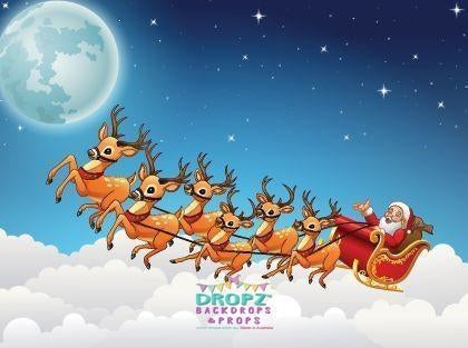 Backdrop - Christmas Santa Reindeer Sled Backdrop