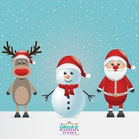 Backdrop - Christmas Santa Reindeer Snowman Backdrop