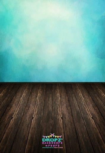 Backdrop - Dark Wood & Aquamarine Wall