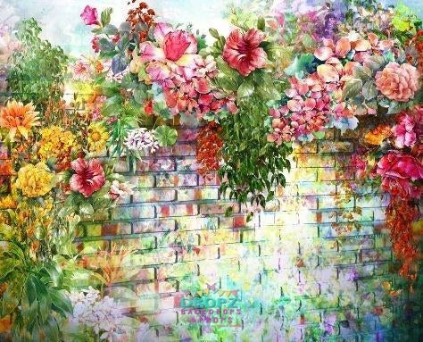 Backdrop - Floral Brick Wall