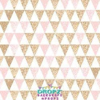 Backdrop - Gold Glitter Pink Triangles