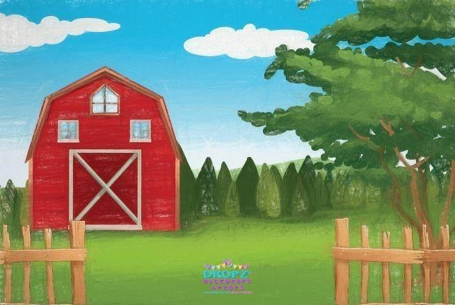 Backdrop - Hand Drawn Red Barn - Day