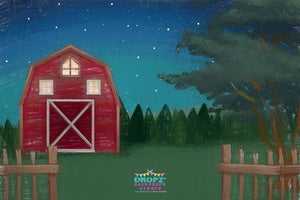 Backdrop - Hand Drawn Red Barn - Night