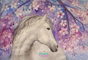 Backdrop - Hand Painted Floral Horse