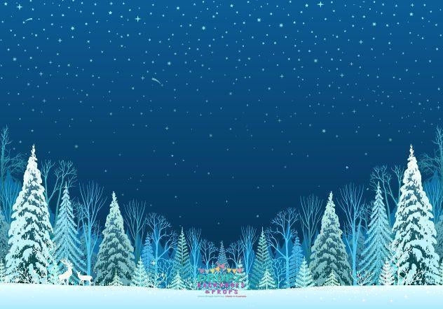 Backdrop - Night Sky Snowy Trees