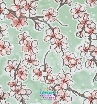Backdrop - Painted Cherry Mint Blossoms