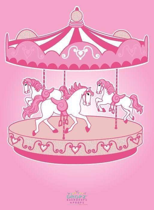 Backdrop - Pink Carousel Horses