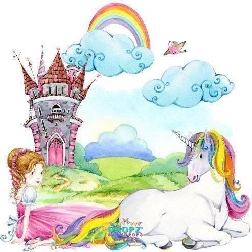 Backdrop - Princess Unicorn Castle Backdrop