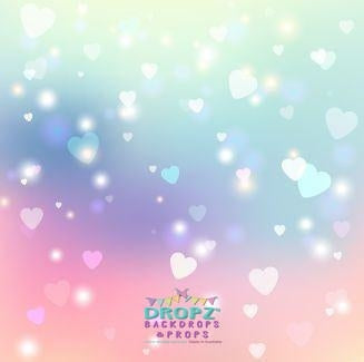 Backdrop - Rainbow Heart Bokeh