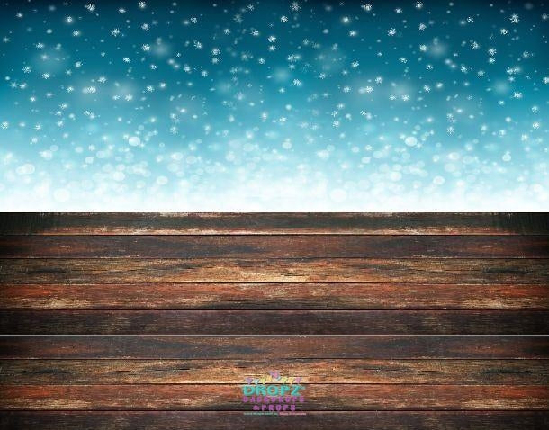 Backdrop - Snow Flurries & Wood Floor