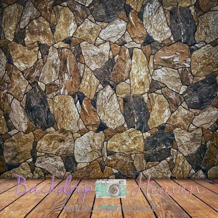 Backdrop - Stone Wall & Wooden Floor