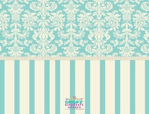 Backdrop - Teal & Cream Vintage Damask