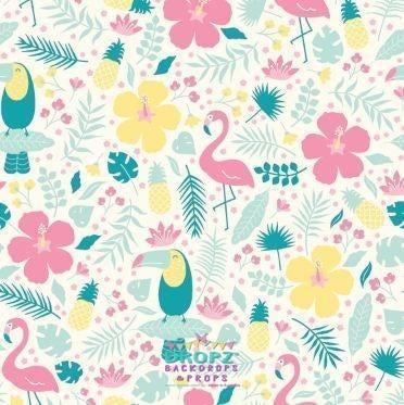 Backdrop - Tropical Flamingo Toucan
