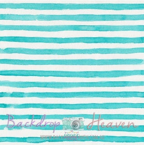 Backdrop - Watercolor Teal Stripes