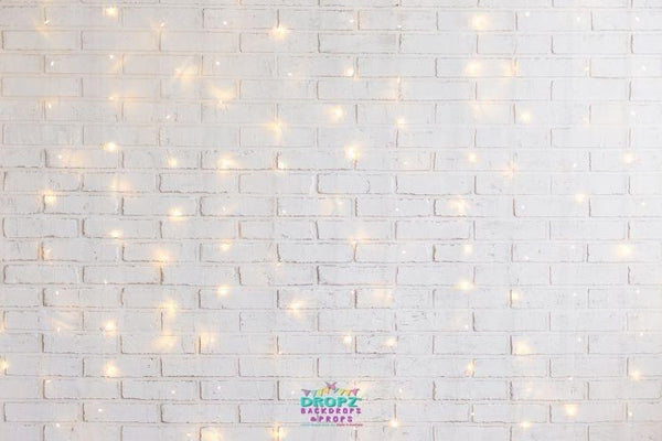 Backdrop - White Brick Fairy Lights Backdrop