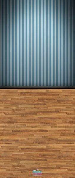 Backdrop - Wooden Floor Teal Striped Wall