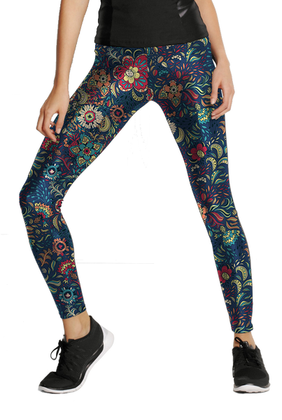 retro+floral Pattern Leggings